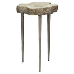 Palecek Chloe Rustic Inlaid Clam Shell Top Live Edge Side End Table