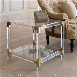 Eloquence French Country Style Pair of Vintage Lucite Side Tables: 1960