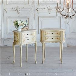 Eloquence French Country Style Pair of Antique Nightstands: 1900