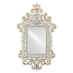 Del Mar Coastal Beach Regal Rectangular White Seashell Wall Mirror