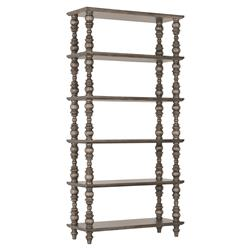 Luker Modern Classic 6 Shelf Turned Grey Wood Etagere Bookcase