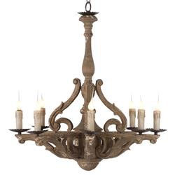 Castille Rustic Carved Wood European 8 Light Chandelier | AG-L124 CHAN