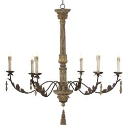 Grand Anne Antique Gold European Style 6 Light Chandelier