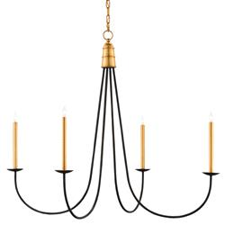 Ostrow Modern Classic Black Gold 4 Light Chandelier