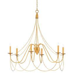 Philia Modern Regency Antique Gold 6 Light Candelabra Chandelier