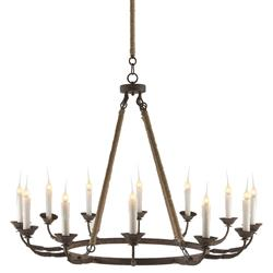 Consuelo Country Rustic Burlap Simple 12 Light Chandelier | AG-L128 CHAN
