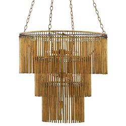 Ware Modern Classic Gold 3 Tier 7 Light Metal Fringe Chandelier