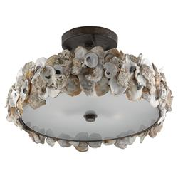 Oyster Shell Coastal Beach Round Bronze Semi-Flush