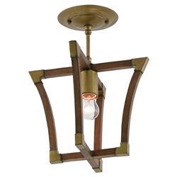 Odera Rustic Modern Brass Cap Modular Wood Semi-Flush