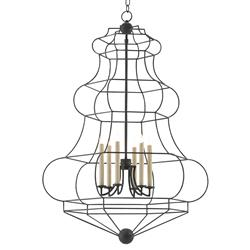 Laurence Industrial French Wrought Iron Cage 6 Light Chandelier