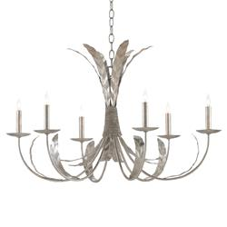 Felly Modern Classic Silver Feather 6 Light Iron Chandelier