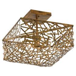 Mid Century Modern Gold Leaf Art Metal Abstract Cube Semi-Flush