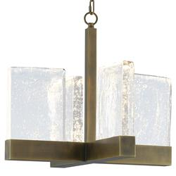 Maxine Modern Classic Seeded Glass Slab Antique Brass X-Frame Chandelier