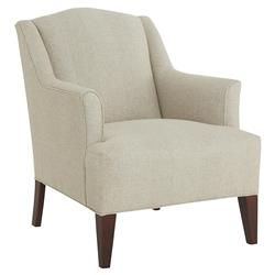 CR Laine Mcgee Modern Classic Beige Stripe Linen Upholstered Accent Armchair