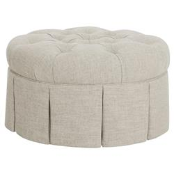 CR Laine Chateau Modern Classic Light Grey Linen Tufted Round Ottoman