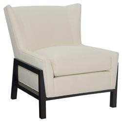 CR Laine Sawyer Modern White Exposed Black Frame Wing Back Accent Chair