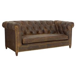 CR Laine Topeka Rustic Distressed Brown Leather Tufted Chesterfield Sofa