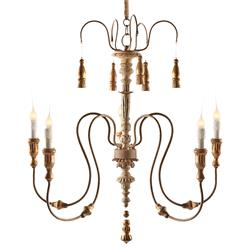 Grace 5 Light Curled Iron Tiered French Country Chandelier | AG-L237 CHAN