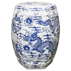 Daren Global Bazaar Blue & White Hexagonal Fire Ball Dragon Motif Outdoor Garden Stool