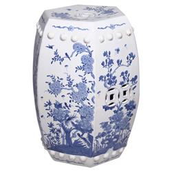 Jaden Global Bazaar Blue &White Hexagonal Floral Bird Motif Outdoor Garden Stool