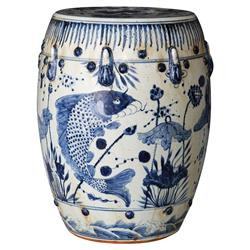 Kingyo Global Bazaar Blue White Fish Motif Outdoor Garden Stool