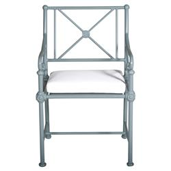 Tectona French Country White Sunbrella Grey Blue Aluminum Outdoor Arm Chair