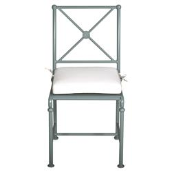 Tectona French Country White Sunbrella Grey Blue Aluminum Outdoor Dining Chair