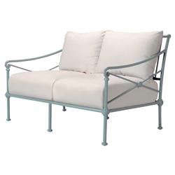 Tectona French Country White Sunbrella Grey Blue Aluminum Two Seat Outdoor Sofa