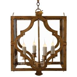 Estelle Antique Gold Open Cube Lantern Pendant Lamp