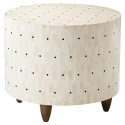 Theodore Alexander Dot Modern Faux Bone Horn Inlaid Round Side End Table