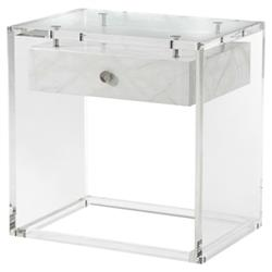 Theodore Alexander Generation Modern Faux Carrara Solid Acrylic Side End Table