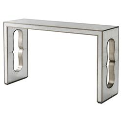Theodore Alexander Cartouche Reflection Silver Leaf Mirror Rectangular Console Table