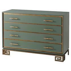 Theodore Alexander Fascinate Regency Green Painted Gilt 4 Drawer Dresser
