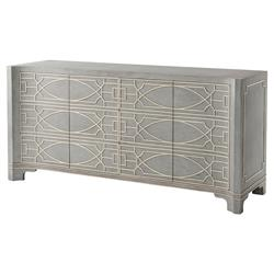 Theodore Alexander Morning Room Vintage Blue White Fretwork Sideboard