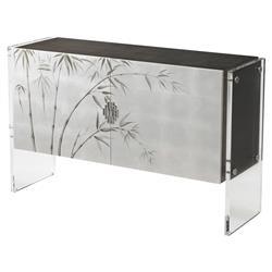 Theodore Alexander Anji Platinum Sycamore Veneer Silver Leaf Sideboard
