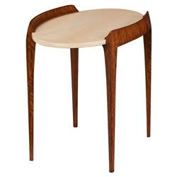 Theodore Alexander Suspend Modern Sycamore Veneer Oval Side End Table