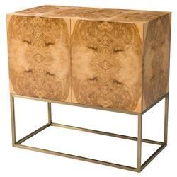 Theodore Alexander Symmetry Modern Olive Ash Burl Veneer Brass Cabinet