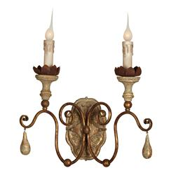 Tuscan French Style Caravelle Aged Gold Curl Arm Wall Sconce - Set of 2