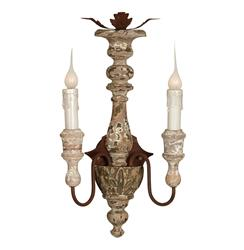 Pair Lavitrine French Country Rustic 2 Light Wall Sconces