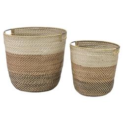 Palecek Bixby Coastal Beach Coil weave Rattan Basket - Set of 2