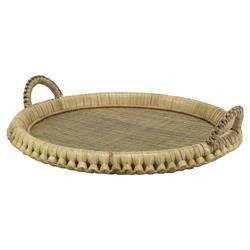Palecek Kenis Coastal Beach Pole Rattan Wicker Round Tray