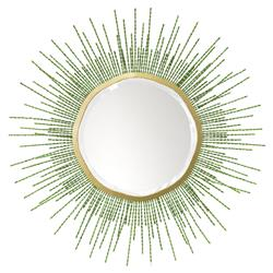 Palecek Sadie Coastal Beach Gold Metal Frame Beaded Green Mirror - 48D