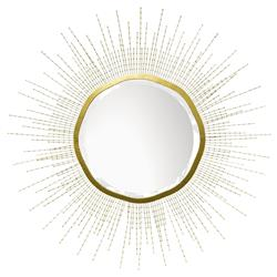 Gold Beaded White Mirror