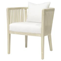 Palecek Casey Coastal Beach Hardwood Frame Cushioned Outdoor Dining Arm Chair