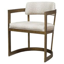 Palecek Conrad Coastal Beach Antique Gold Metal Frame Linen Dining Arm Chair