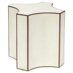 Palecek Vivian Modern Classic Shagreen Cream Walnut Veneer Side End Table