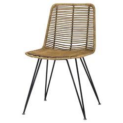 Palecek Hermosa Coastal Beach Black Metal Frame Rattan Dining Side Chair