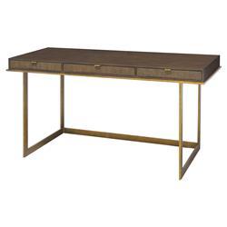 Palecek Lenox Modern Classic Walnut Top Antique Gold Base Desk