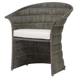 Palecek Mercer Coastal Beach Rattan Frame Cushioned Dining Arm Chair