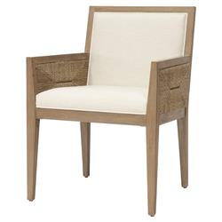 Palecek Santa Coastal Beach Hand-Woven Lampakanai Outdoor Dining Arm Chair